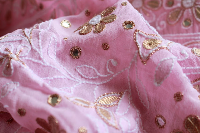 Pink Pure Georgette fabric with gota , mirror and chikankari embroidery