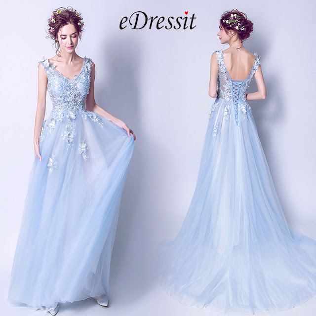 light blue v cut tulle women party dress