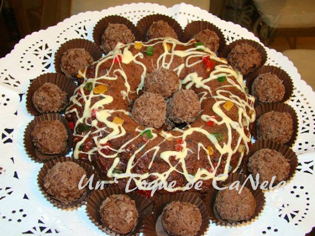 pastel chocolate, trufas naranja
