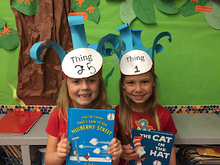 Two girls as Thing 1 and Thing 2