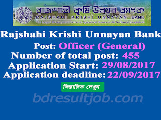 Rajshahi Krishi Unnayan Bank (RAKUB) Officer (General) Job Circular 2017
