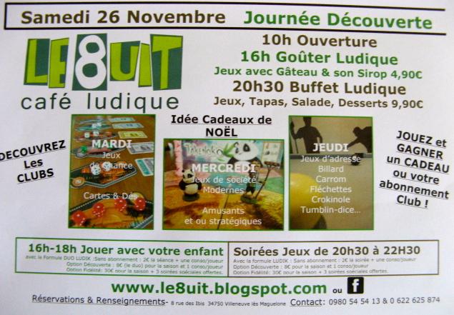 Clubs de jeux société, adresse ou chance au 8uit Montpellier