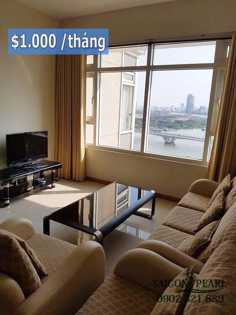 Chung cư Saigon Pearl Ruby 2 cho thuê căn hộ 2PN view cầu SG
