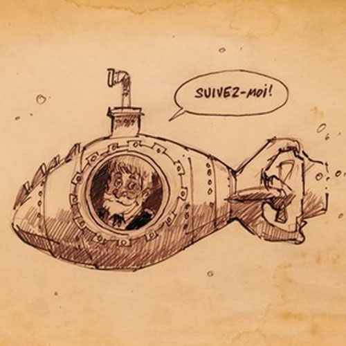 Jules Verne dans le Nautilus.  Auteur : Walter Plitt Quintin