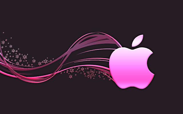 Zwarte wallpaper met roze Apple logo