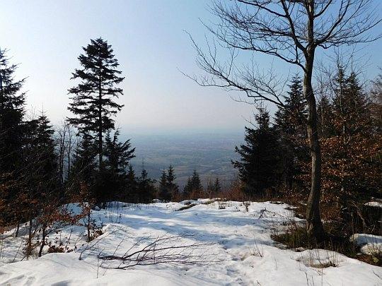 Widok na Pogórze Śląskie z grzbietu Hrobaczej Łąki.