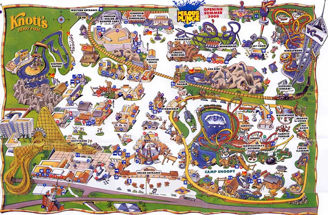 Mapa do Parque Knotts Berry Farm na Califórnia