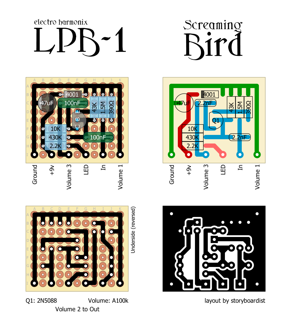 perf and pcb effects layouts electro harmonix lpb 1 and its siblings. Black Bedroom Furniture Sets. Home Design Ideas