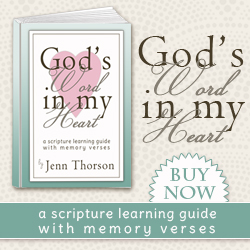 God's Word in My Heart: A Scripture Learning Guide with Memory Verses - Learn the Bible along with your children! Available in four versions, this ebook includes printable Scripture memory verses from A to Z plus ideas for go-alongs and activities to help you teach Bible to your kids!