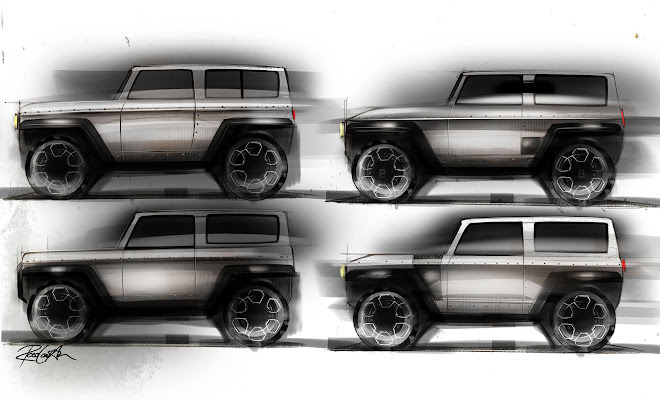 Bollinger B1 design sketches by Ross Compton