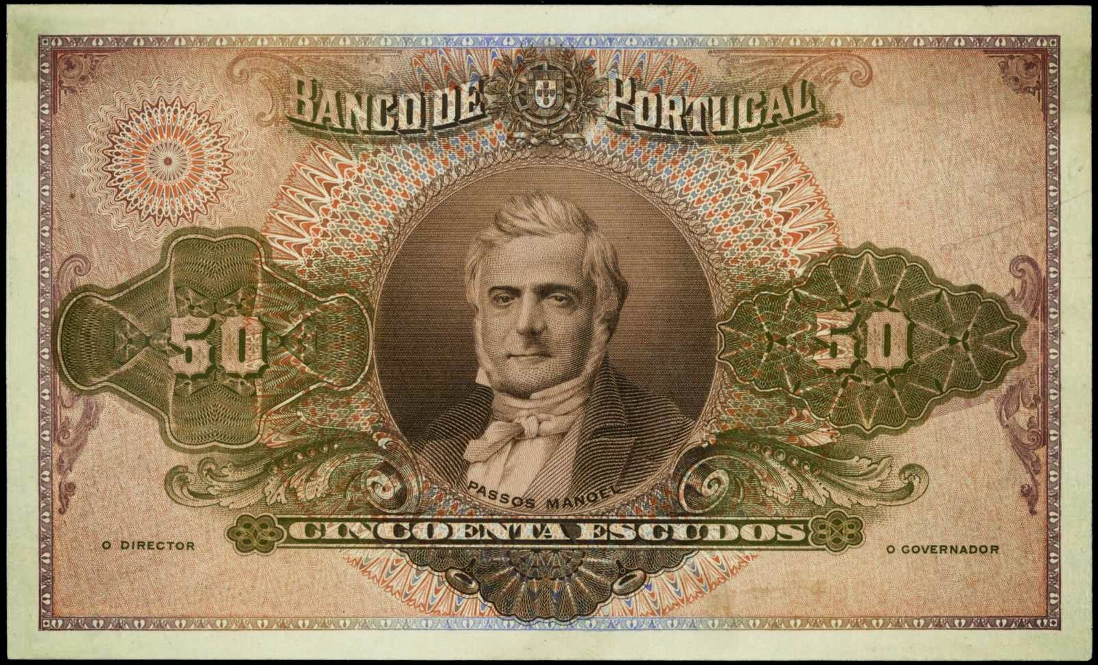 Portugal banknotes 50 Escudos note 1920