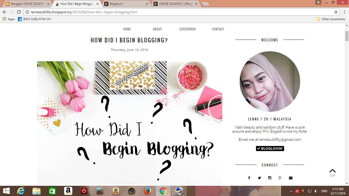 Things I Do When I Don't Have The Mood To Write A New Post | Lenne Zulkiflly