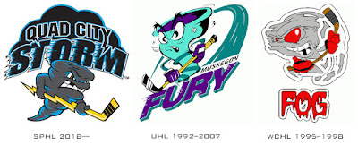 Minor league hockey logos with wirlwinds as their logos