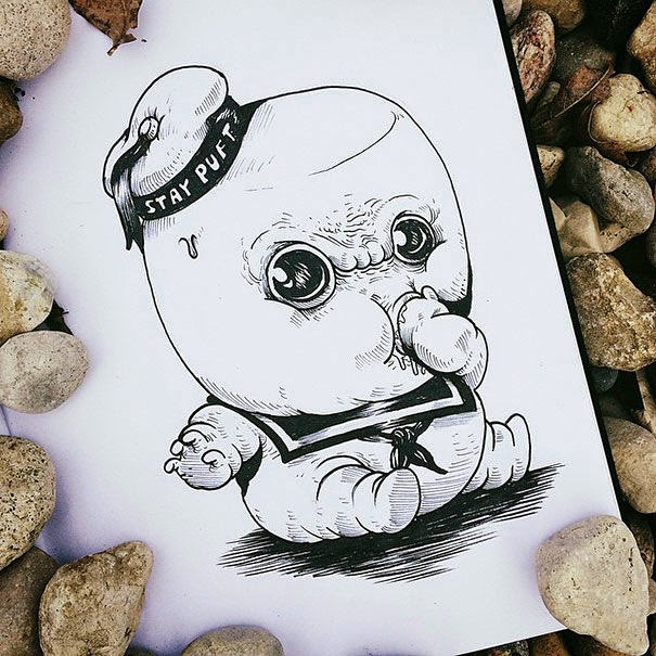 17-Marshmallow-Alex-Solis-Baby-Terrors-Drawings-Horror-Movie-Villains-www-designstack-co