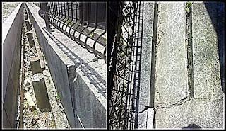 塀の傾きとコンクリートの浮き上がり画像