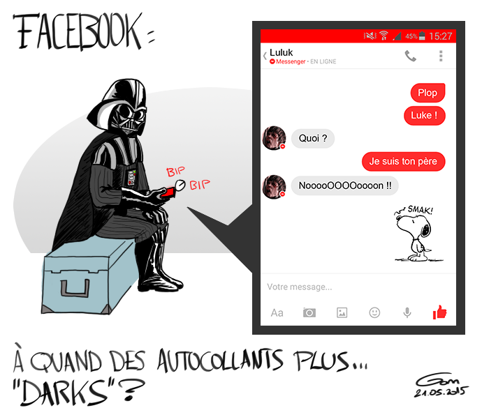 Autocollants Facebook Star Wars Dark Vador Luke Skywalker