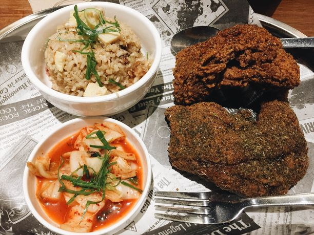 Umami fried chicken and dirty rice at Bad Bird