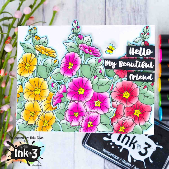 Hollyhock Garden Friendship Card by ilovedoingallthingscrafty