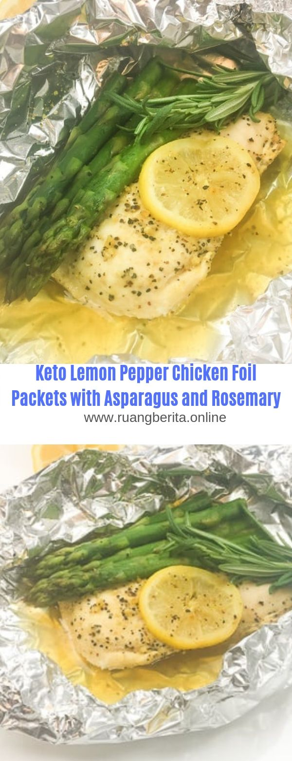 Keto Lemon Pepper Chicken Foil Packets with Asparagus and Rosemary