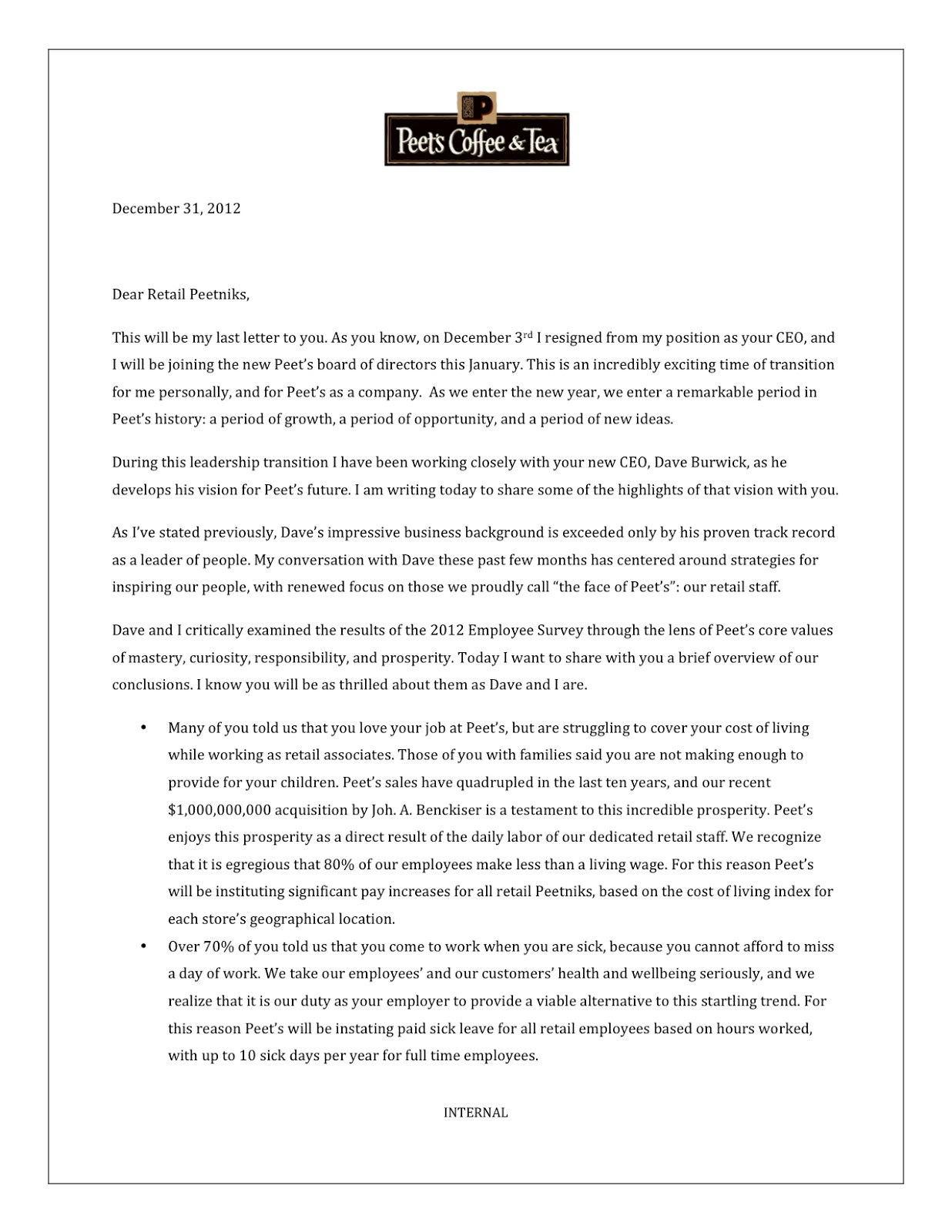 94 CHRISTMAS LETTER TO EMPLOYEES FROM CEO, LETTER CEO