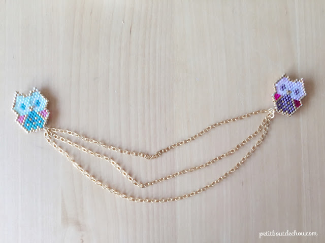 chain collar brooch with beadwork