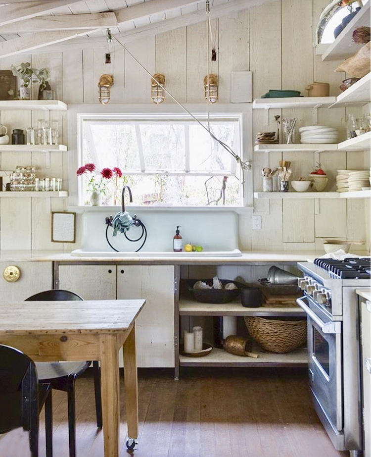 White Wood Panelling, A Vintage Sink, Down To Earth Open Shelving And A  Pulley System All Add To The Relaxed Charm Of The Cabin. Leanne Picked Up  The Viking ...