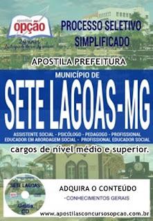 Apostila concurso Município de Sete Lagoas Processo Seletivo Simplificado 2017