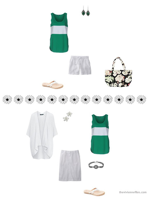how to style a green and white top for summer