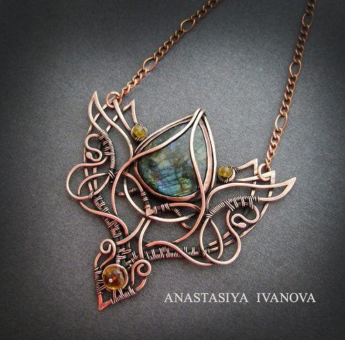 Vintage Wire Chain Jewelry Making Brass Chain Custom: Copper Wire Wrapped And Metal Work Jewelry By Nastiva
