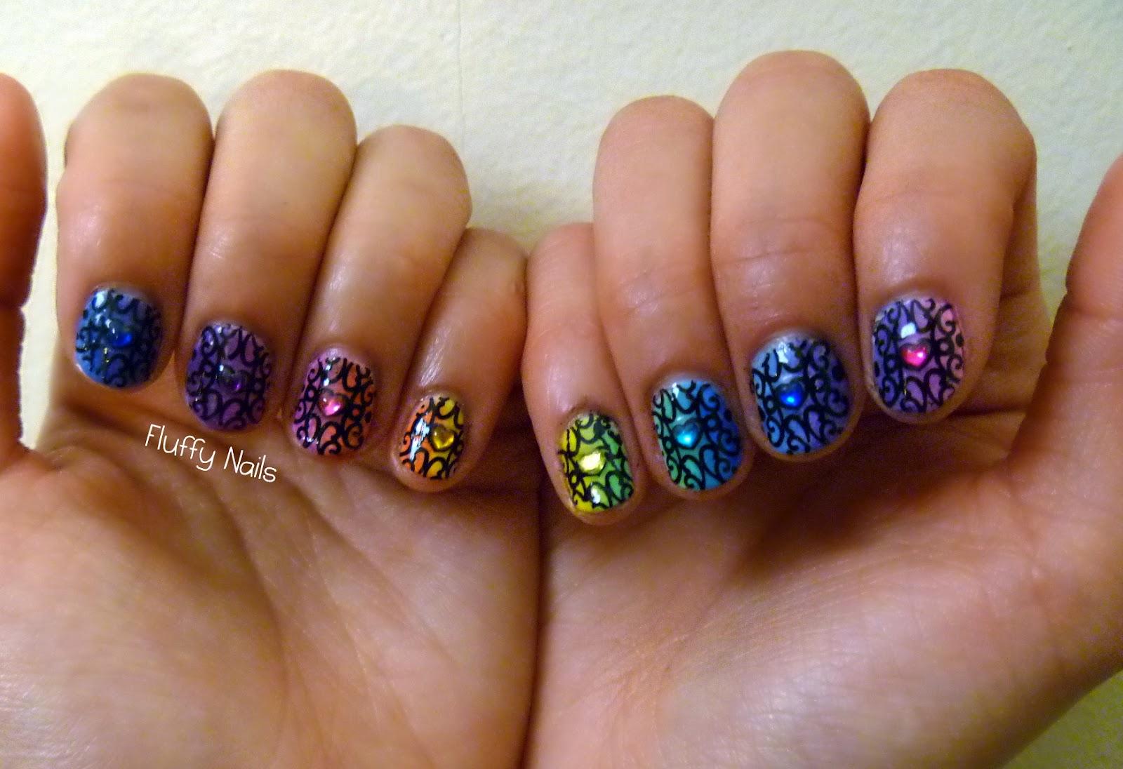 Fluffy Nails Nail Art Arc En Ciel D 233 Grad 233 224 L 233 Ponge Rainbow Gradient Nails