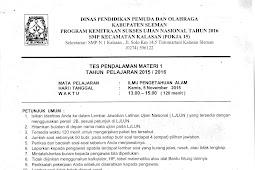 Soal TPM UN 2016 SMP Pokja Kalasan Kabupaten Sleman (2-5 November 2015) & Hasil TPM