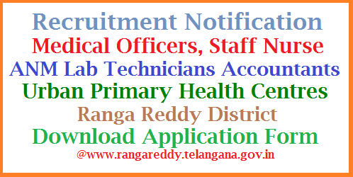 "Recruitment of Medical Officers Staff Nurse ANM Lab Technicians Accountants in Urban Primary Health Centres- RR Applications are invited from eligible candidates in the prescribed ""Application Form"" for recruitment to the posts mentioned at Para-2, sanctioned under National Urban Health Mission on Contract Basis. The contract is initially for a period of one year and renewal will be as per the need and also subject to satisfactory performance. However, Every year new contract has to be signed and valid for the period as indicated in the contract. recruitment-of-medical-officers-staff-nurse-lab-assistants-anm-urban-primary-health-centre-rr"