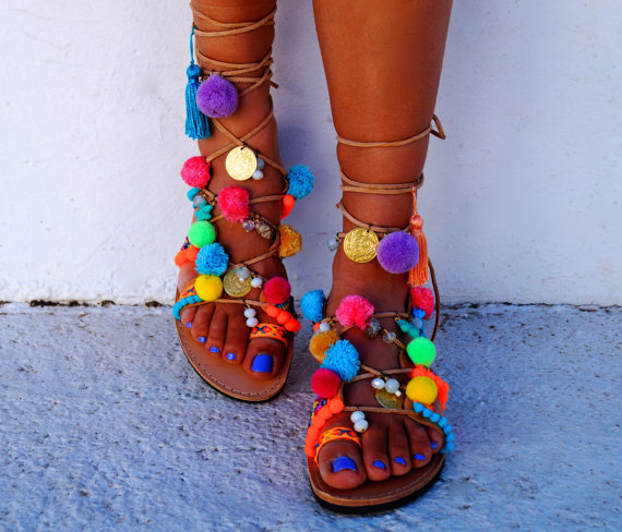Mabu by Maria BK pom pom sandals available via Etsy