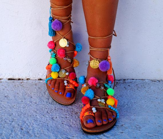 Mabu by Maria BK pom pom sandals available via Etsy