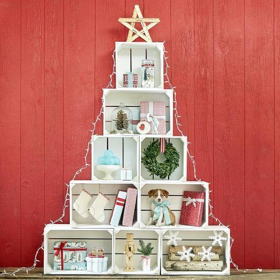 decoração de natal com caixote de feira