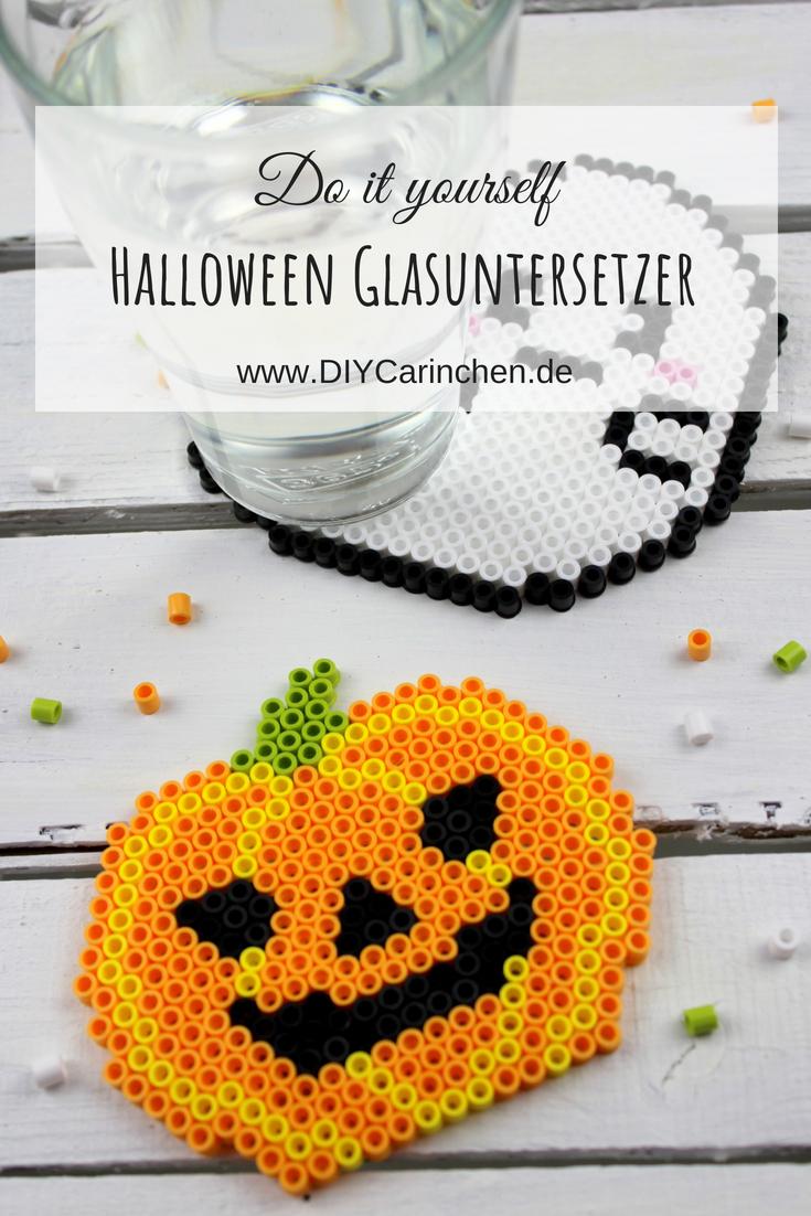 DIY Anleitung: süße Halloween Gespenster und Kürbis Glasuntersetzer ganz einfach selber machen - perfekte Bastelidee für eure Halloween Party