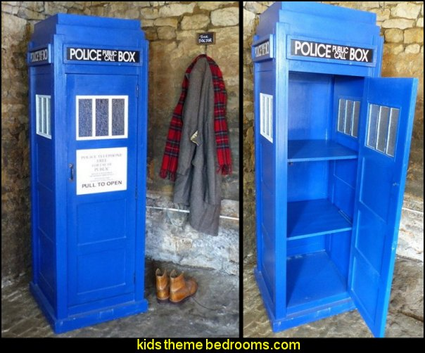 Dr Who Tardis Life Size Tall Cabinet  Doctor Who bedroom - Doctor Who themed bedroom ideas - decorating Doctor Who theme -  Doctor Who decor - Doctor Who Bedding - dr who bedroom ideas - Dr Who Tardis - doctor who