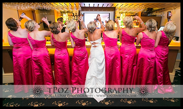 bridesmaids at the bar Chesapeake Inn Wedding photos