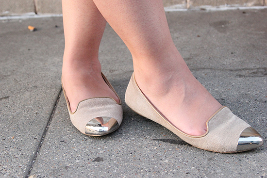 DV Dolce Vita Tan Silver Capped Toe Loafers