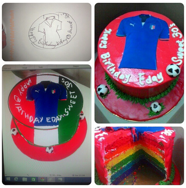kek pelangi buttercream, surprise birthday party, kek buttercream tema italy