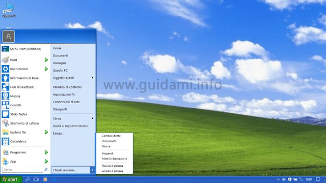 Windows 10 con menu Start e barra delle applicazioni di Windows XP