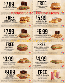 Burger King coupons for december 2016