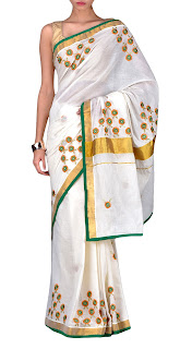 Embroidered Cream Kerala Cotton Saree