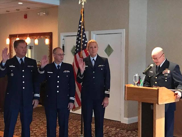 Commander and Vice Commander for Flotilla 16-07 are sworn in.