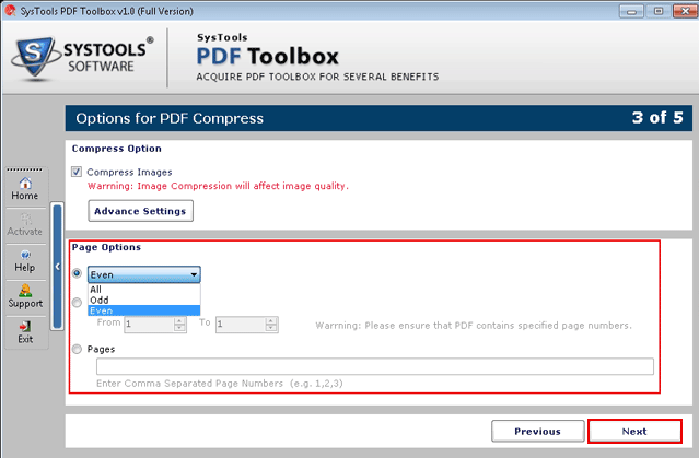 Page Options for PDF Compress
