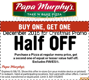 Papa Murphys coupons december 2016