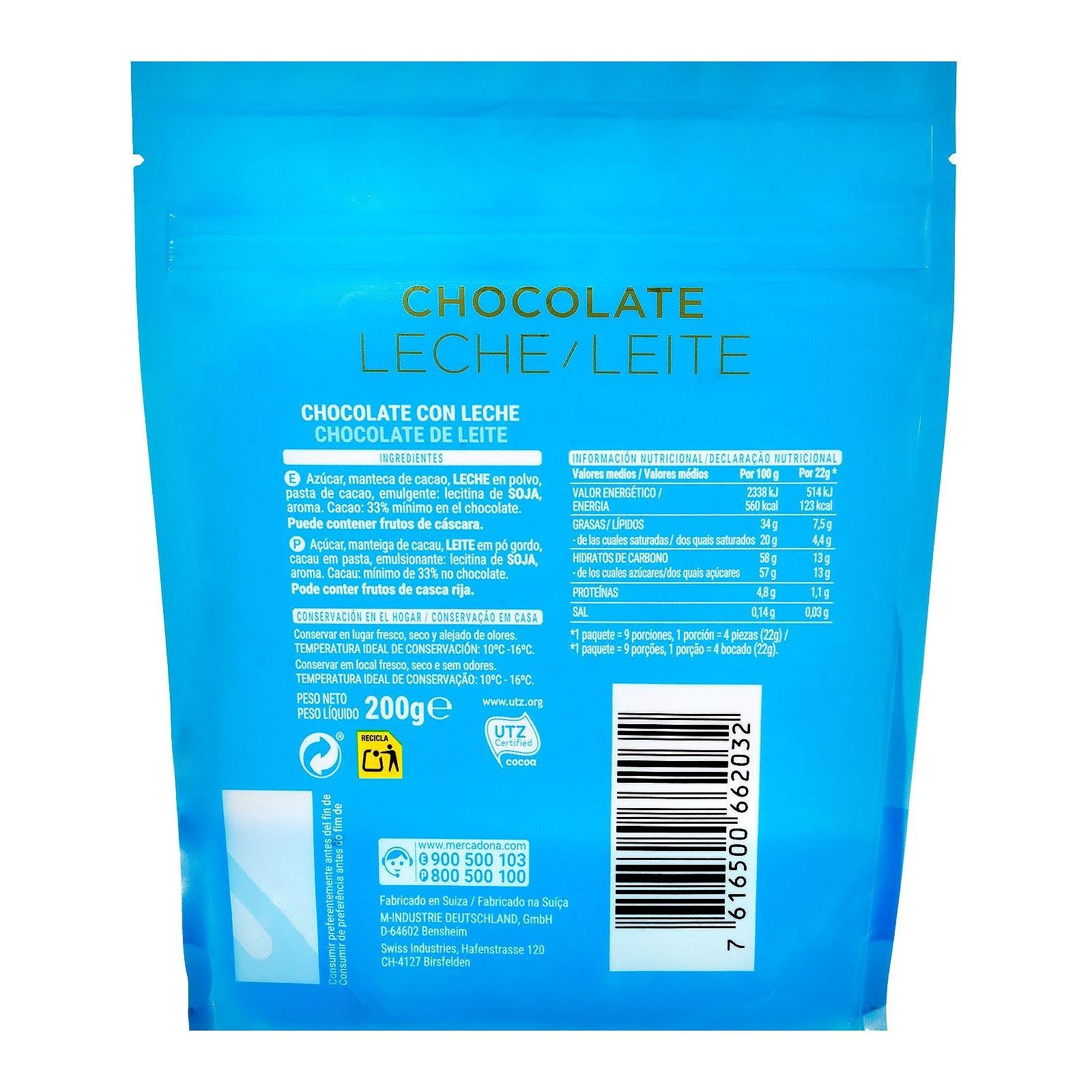 Chocolatinas de chocolate con leche suizo Hacendado