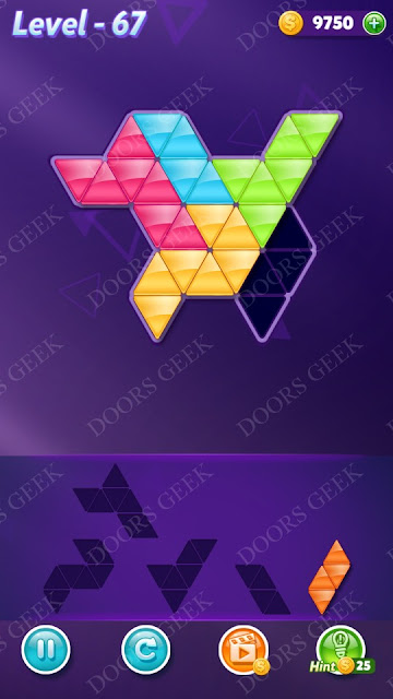 Block! Triangle Puzzle 5 Mania Level 67 Solution, Cheats, Walkthrough for Android, iPhone, iPad and iPod