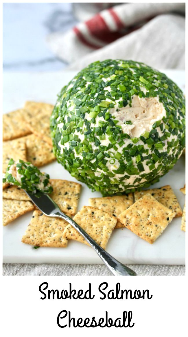 Smoked Salmon Cheese Ball with dill havarti and chives #cheeseball #smokedsalmon
