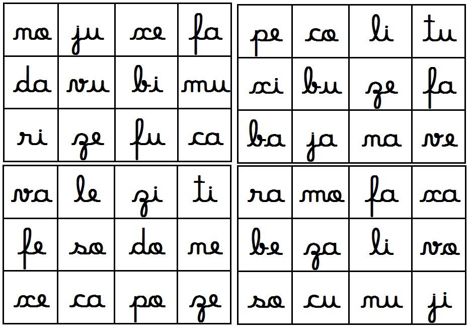 Cantinho Analyu Bingo Silabas Simples Letra Cursiva